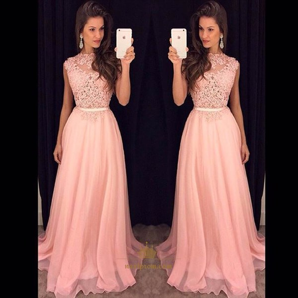 Elegant Pink Sleeveless A-Line Chiffon Evening Dress With Lace Bodice