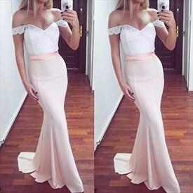 Light Pink Elegant Off Shoulder Lace Bodice Chiffon Mermaid Prom Dress