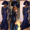 Navy Blue Off The Shoulder Sheer Beaded Long Sleeve Mermaid Prom Dress