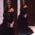 Elegant Black Off The Shoulder Lace Bodice Chiffon Long Evening Dress