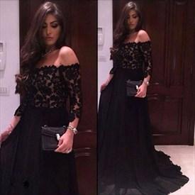 Elegant Black Off The Shoulder Lace Bodice Chiffon Long Evening Dress