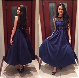 Navy Blue Ankle Length Sleeveless Prom Dress With Illusion Lace Bodice