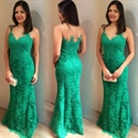 Green Sleeveless Lace Mermaid Floor Length Prom Dress With Sheer Neck