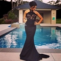 Elegant Black Halter Mermaid Long Evening Dress With Lace Embellished