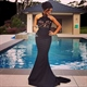 Elegant Black Halter Mermaid Long Evening Dress With Lace Embellished