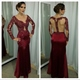 Burgundy Long Sleeve Beaded Bodice Mermaid Prom Dress With Sheer Back