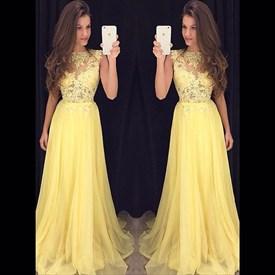 Yellow Lace Bodice Chiffon Bottom A Line Floor Length Evening Dress