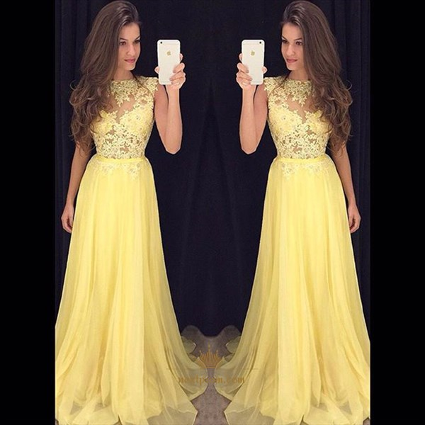 Yellow Lace Bodice Chiffon Bottom A Line Floor Length Evening Dress
