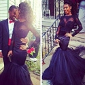 Black Illusion Long Sleeve Sheath Tulle Mermaid Prom Dress With Train