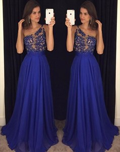 Royal Blue One Shoulder Beaded Embellished Chiffon Long Evening Gown