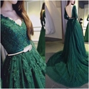 Hunter Green V Neck Long Sleeve Lace Embellished Prom Dress With Train