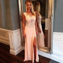 Light Pink Illusion Sleeveless Chiffon Long Prom Dress With Side Slit