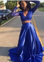Royal Blue Two Piece A Line Prom Dress With Illusion Lace Long Sleeve