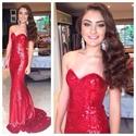 Red Strapless Sweetheart Floor Length Sequin Sheath Mermaid Prom Dress