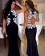 Black Sleeveless Mermaid Evening Gown With Floral Applique Embellished