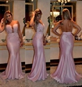 Pink Sheer Lace Beaded Bodice Mermaid Long Prom Dress With Open Back