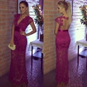 Fuchsia V Neck Lace Overlay Floor Length Prom Dress With Cap Sleeve
