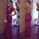 Fuchsia V Neck Lace Overlay Floor Length Prom Dress With Cap Sleeve