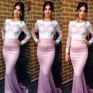 Lilac Illusion Long Sleeve Lace Bodice Sheath Mermaid Long Prom Dress