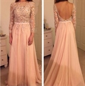 Light Pink Illusion Long Sleeve Beaded Backless Chiffon Evening Dress