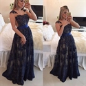 Beaded Embellished V Neck A-Line Lace Long Prom Dress With Sheer Back