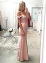 Elegant Light Pink Off Shoulder Lace Embellished Mermaid Prom Dress