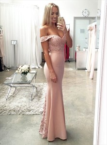 Elegant Light Pink Off Shoulder Lace Embellished Mermaid Prom Dress
