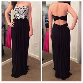 Black Strapless Two Piece Chiffon Prom Dress With Applique Embellished