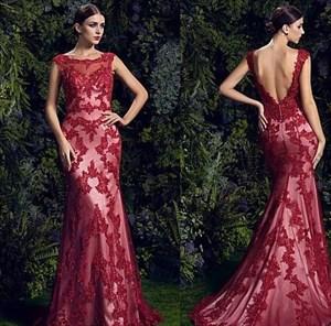 Elegant Burgundy Sleeveless Backless Beaded Lace Overlay Mermaid Dress