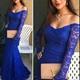 Royal Blue Elegant Off Shoulder Long Sleeve Lace Mermaid Prom Dress