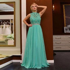 Turquoise Sleeveless High-Neck Lace Beaded Bodice Chiffon Evening Gown