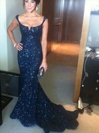 Black Elegant Sleeveless Rhinestone Embellished Mermaid Evening Dress