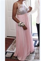 Pink Sleeveless Illusion Beaded Bodice Chiffon Long Bridesmaid Dress