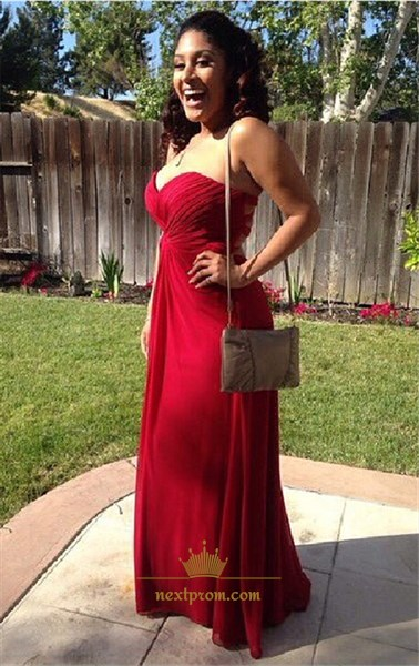 Burgundy Strapless Sweetheart Ruched Bodice Empire Bridesmaid Dress