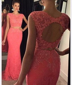 Coral Cap Sleeve Lace Two Piece Mermaid Evening Gown With Keyhole Back
