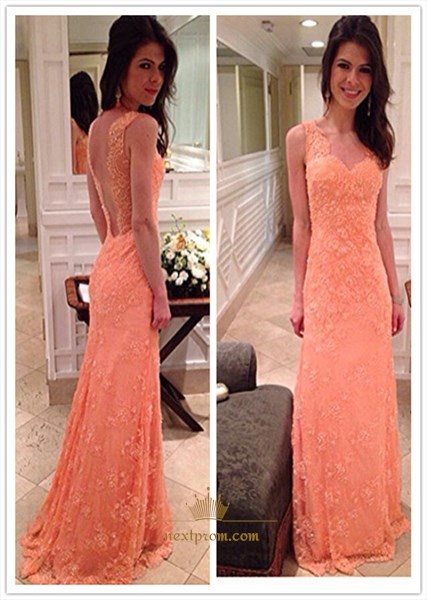 Coral Sleeveless Lace Overlay Floor Length Prom Dress With Open Back