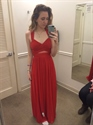 Red Sleeveless V Neck Ruched Chiffon Prom Dress With Criss Cross Back