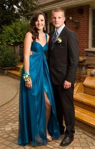 Sleeveless V Neck Empire Waist Floor Length Prom Dress With Front Slit