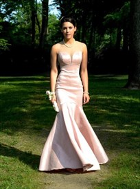 Simple Light Pink Sleeveless Illusion Neckline Mermaid Long Prom Gown