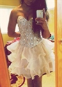 Knee Length Strapless Sweetheart Beaded Embellished Bodice Party Dress