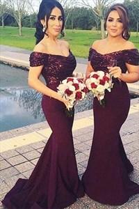 Elegant Grape Off The Shoulder Sequin Bodice Mermaid Bridesmaid Dress