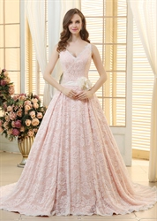 Light Pink Sleeveless V-Neck Lace Overlay A-Line Ball Gown With Flower