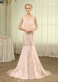 Elegant Light Pink Lace Mermaid Evening Gown With Ruched Waist And Bow