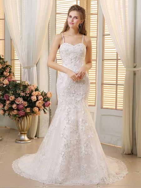 White Elegant Spaghetti Strap Sequin Embellished Mermaid Wedding Dress