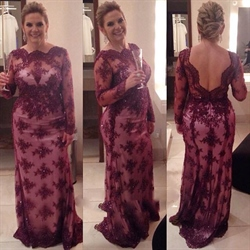 Grape Long Sleeve Illusion Lace Embellished Mother Of The Bride Dress