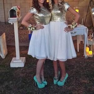 Short Sleeve Knee Length Chiffon Bridesmaid Dress With Sequin Bodice