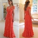 Orange Red Cap Sleeve Illusion Bodice Lace Mother Of The Bride Dress