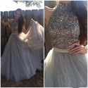 Grey Halter Beaded Embellished Bodice Floor Length Tulle Evening Dress