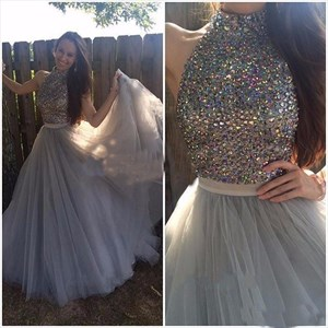 Grey Halter Beaded Embellished Bodice Floor Length Tulle Evening Dress
