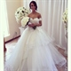 Elegant Off The Shoulder Sweetheart Lace Top Ball Gown Wedding Dress